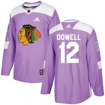 Chicago Blackhawks Youth Jake Dowell Adidas Authentic Purple Fights Cancer Practice Jersey
