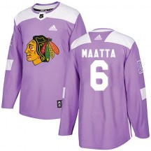Chicago Blackhawks Men's Olli Maatta Adidas Authentic Purple Fights Cancer Practice Jersey